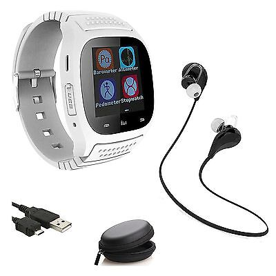 White Bluetooth Smart Watch Pedometer Wireless Earphones For iPhone Samsung LG
