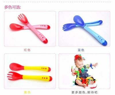 Baby Kid Suction Bowl Temperature Colour Changing Spoon baby Feeding Tableware