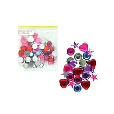 100 Craft Rhinestones - Round, Star, Heart - Various Colours - Approx 10mm