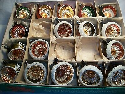 Lot of 17 vintage Indented Mercury Glass Ornaments made Germany $12 Priority Sh