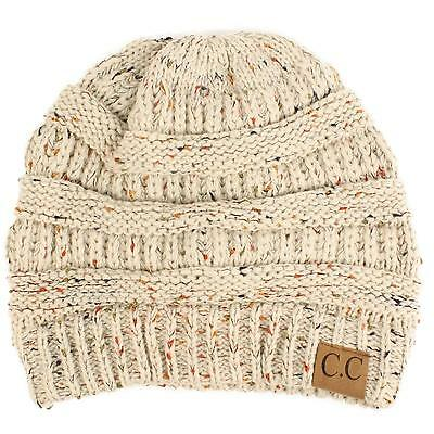 Soft Chunky Thick Stretch Speckled Knit Slouch Beanie Skull Ski Hat Cap Oatmeal