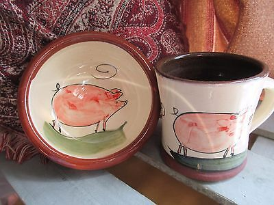 Gorgeous Studio Pottery Piggy Mug and bowl, Marked P.