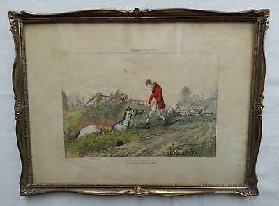 R.B. DAVIS 1822 Hunting Miseries Nr. 4 GONE TO EARTH - Lithografie Steindruck ??