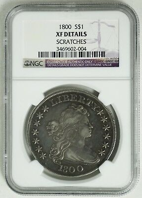 US 1800 $1 Silver dollar Coin NGC XF Details RARE!