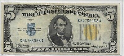 1934A $5 Emergency North Africa Silver Certificate Fr. 2307