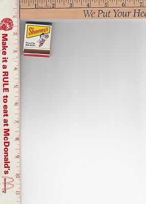 1 Big Boy Shoney's book of matches new old stock Channel 8 WSIX yellow