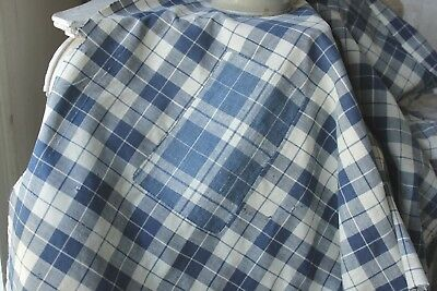 Antique French country indigo blue old PLAID faded primitive darns mends