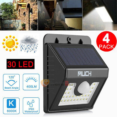 4PCS 30 LED Solar Powered Wall Light Motion Sensor Outdoor Garden Security Lamp