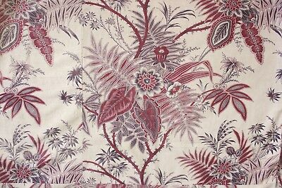 French printed  large scale Indienne fabric upholstery material c 1890 antique