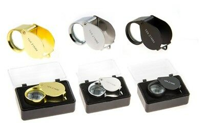 3pc SILVER BLACK GOLD JEWELERS LOUPE 21MM 10X POWER GLASS LENSE MAGNIFIER LOOP