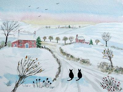 Original Watercolour Painting: ANIMALS:  CATS IN THE SNOWY COUNTRYSIDE