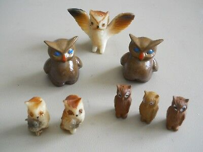 8 Hard Plastic and Ceramic(from Molds) Owl Lot Hong Kong
