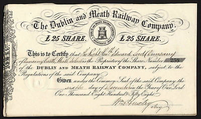 Ireland: Dublin & Meath Railway Company, £25 share, 1858, issued to Lord Dunsany