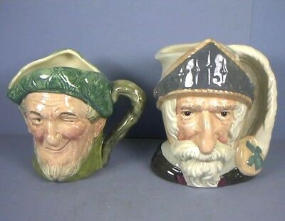 Two Character Topy Jugs, Auld Mac and Don Quixote, by Royal Doulton, England
