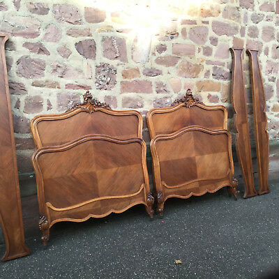 7901 ANTIQUE FRENCH Louis Philippe Pair of Beds walnut