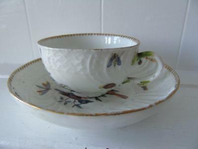 Antique 18th Century Meissen Birds & Insects Embossed Tea Cup & Saucer Set