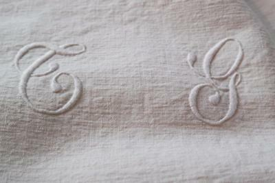 French Hand Loomed Hand Sewn French Antique Sheet Metis Linen
