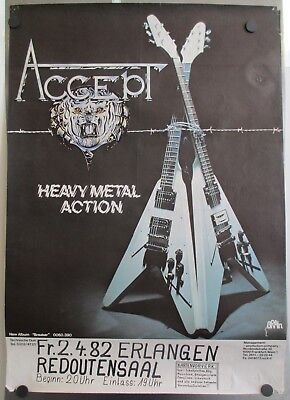 Original 1981 Accept - Breaker German Tour Promo Poster - Heavy Metal 32 3/4""
