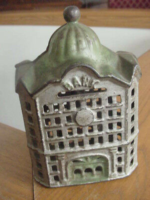 Vintage Cast Iron Metal Still Bank Shaped Like A Domed Bank Building