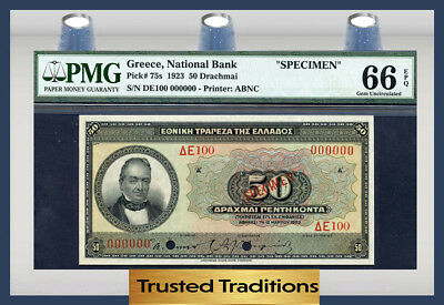 "TT PK 75s 1923 GREECE 50 DRACHMAI ""SPECIMEN"" PMG 66 EPQ GEM UNC POP 4 NONE FINER"