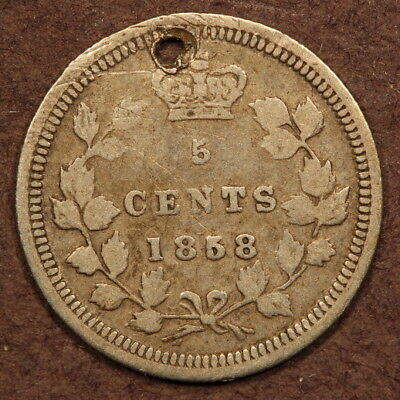 Canada 5 Cents 1858 Large Date Silver VG+