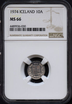 Tt 1974 Iceland 10 Aurar Ngc Ms 66-Miniature Coin Population Of Two None Finer!