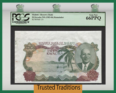 TT PK 17r 1983-84 MALAWI 20 KWACHA PCGS 66 PPQ GEM NEW POP 3 NONE GRADED FINER!
