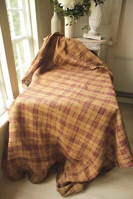 French jute hessian mattress cover RUSTIC RARE primitive plaid