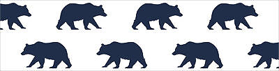 Sweet Jojo Navy Forest Bear Animal Baby Kid Wall Paper Border Room Wallcoverings