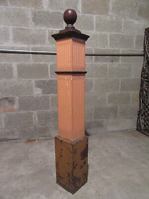 ~ Ornate Antique Oak Newel Post ~  51 Inch ~ Architectural Salvage ~
