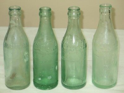 Vintage Lot Of 4 Coca Cola Straight Side Bottle Atlanta,norfolk,dublin,jacksonvi
