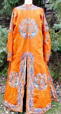 Vintage Antique Chinese Embroidered Robe Jacket Orange Silk Dragons AS IS