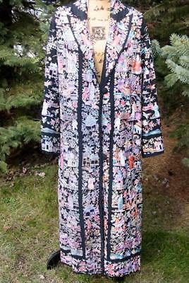 Amazing 1920's Lavishly Embroidered Silk Chinese Robe Coat Faded As Is
