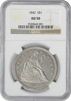 1842 Liberty Seated Dollar AU50 NGC Almost Uncirculated 50