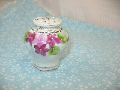 Single Hand Painted Salt Shaker Embossed & Pink Violets Hand Painted Japan 7M7