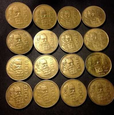 Old Mexico Coin Lot - 100 PESOS - 16 Excellent COINS - Lot #D14