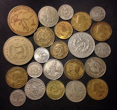 Old Guatemala Coin Lot - 1950-Present - 23 Great Coins - Lot #D14