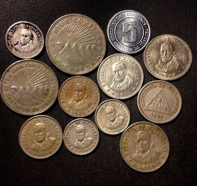 Old Nicaragua Coin Lot - 1937-Present - 12 Great Coins - Lot #D14