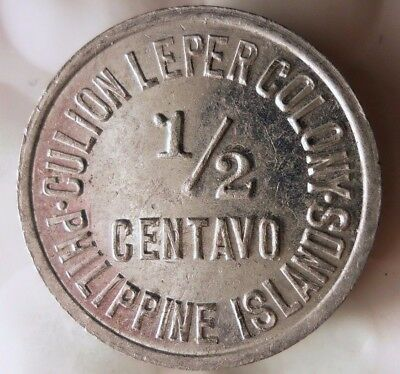 1913 PHILIPPINES 1/2 CENTAVO - LEPER COLONY - AU - High Value Coin - Lot #D14
