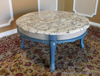 Funky Blue Painted Marble Top French Provincial Style Coffee Table c1960s