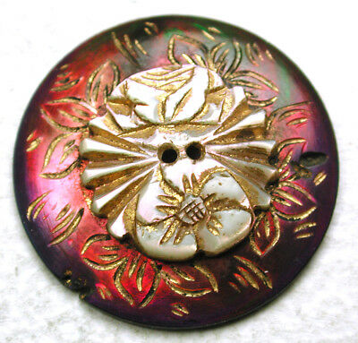 """Antique Iridescent Shell Button Colorful  2 Level Carved Flowers Design - 15/16"""""""