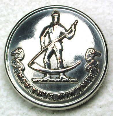"""Antique Silver Livery Button - Man Holds Scythe w/ Motto - 1"""""""