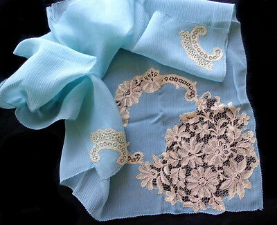 Unusual Antique Hankie: Lace Insertions on Blue Silk - An  Estate Find - #2 of 4
