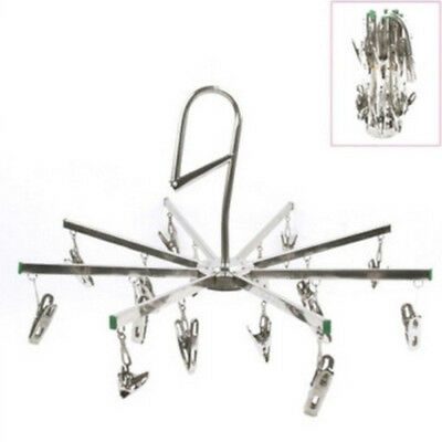Windproof Socks Hook Foldable Stainless Steel With 16 Clips for Clothes Towel