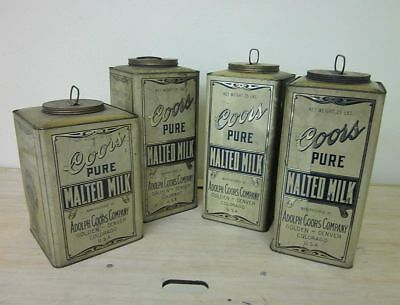 Lot 4 Large Prohibition Era Advertising Tins Adolph Coors Malted Milk Brewery CO