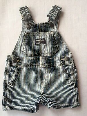 OshKosh B'Gosh Vestbak Baby Boy's Railroad Stripe Shorts Overalls 3 Months