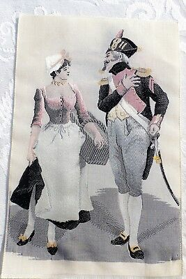 VINTAGE SILK Embroidered French Soldier with Maiden Smaller DETAILED Framable
