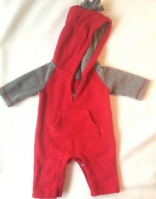Baby Gap Boy's 0-3 Months Red And Gray Coverall Romper