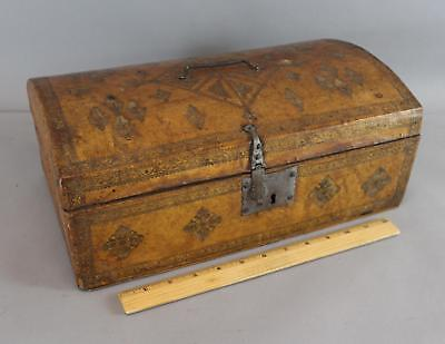 Antique 18thC Tooled Leather Document Box, Forged Hardware Excellent Condition
