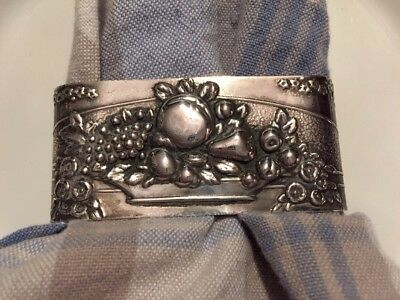 Fabulous Antique Victorian Sterling Silver Napkin Ring Floral Fruit Bowl